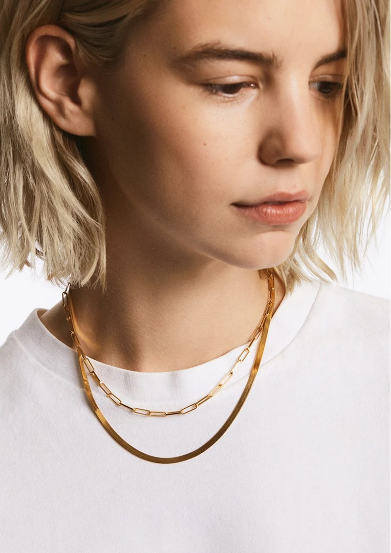 ANNA BECK Elongated Box Chain Necklace - Gold main image
