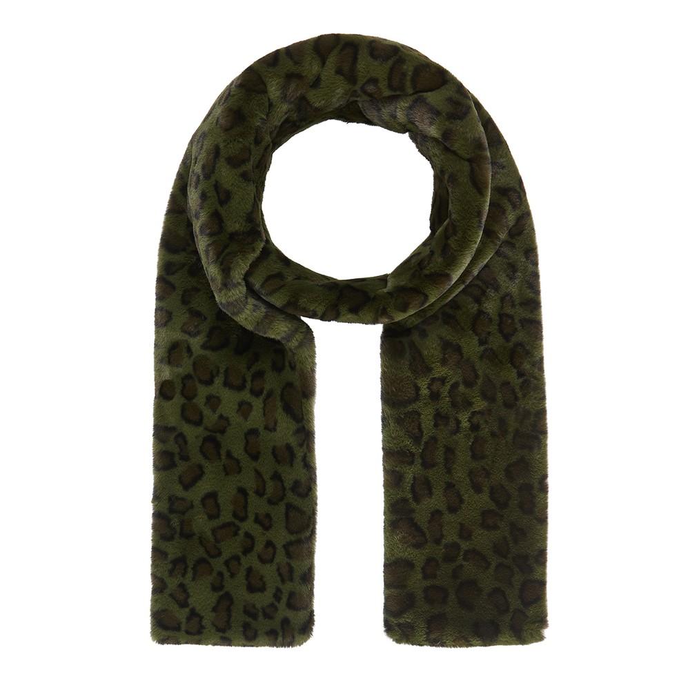 Ari Faux Fur Scarf - Khaki Leopard