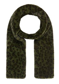 NOOKI Ari Faux Fur Scarf - Khaki Leopard