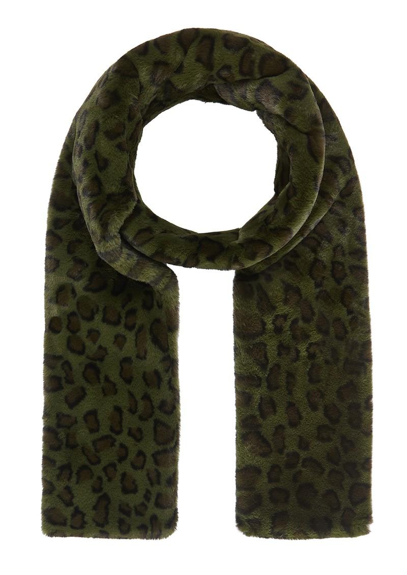 NOOKI Ari Faux Fur Scarf - Khaki Leopard main image