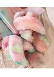 EMU Mayberry Tie Dye Crossover Sheepskin Slipper Slide - Fairy Floss