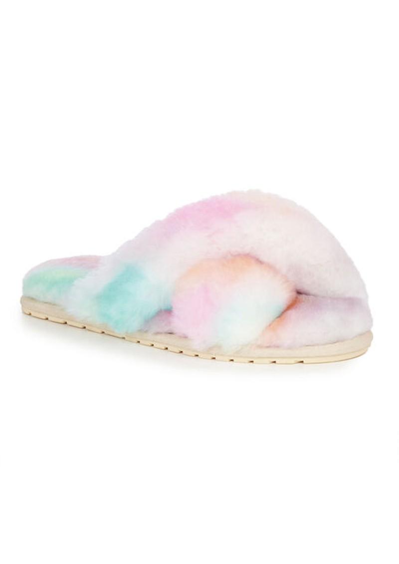 EMU Mayberry Tie Dye Crossover Sheepskin Slipper Slide - Fairy Floss main image
