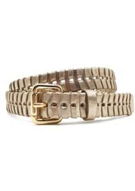 NOOKI Bradley Whipstitch Leather Belt - Gold