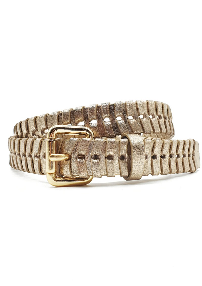 NOOKI Bradley Whipstitch Leather Belt - Gold main image
