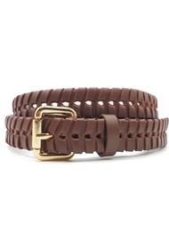 NOOKI Bradley Whipstitch Leather Belt - Brown