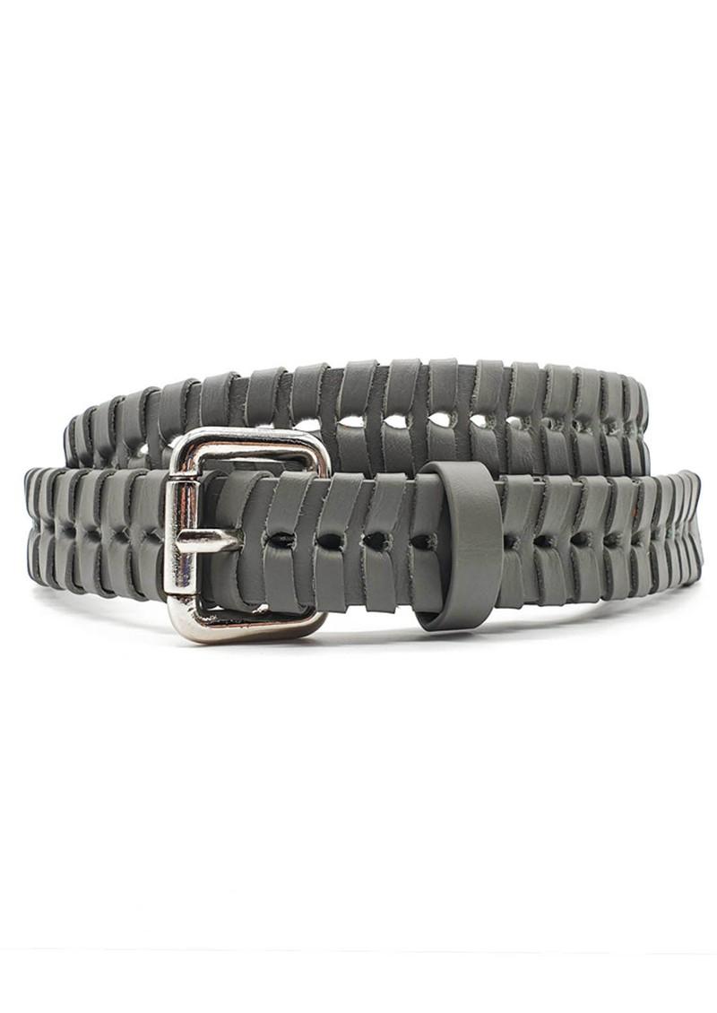 NOOKI Bradley Whipstitch Leather Belt - Grey main image