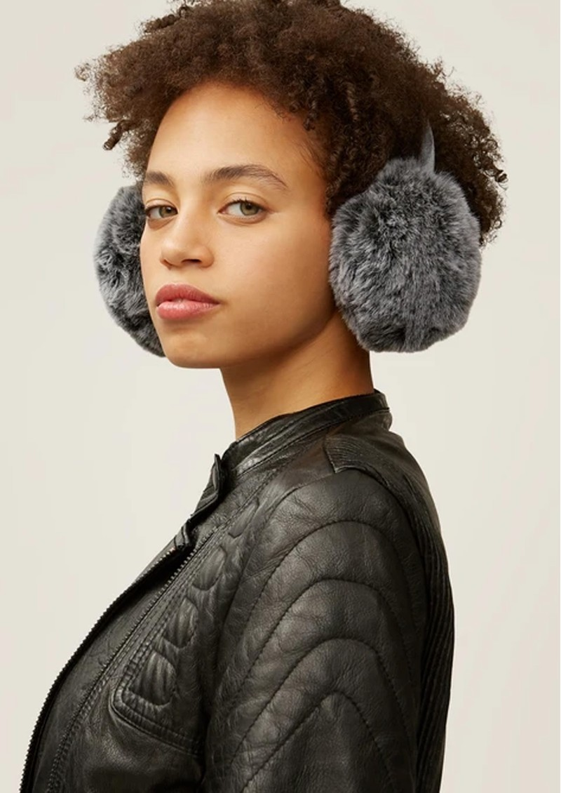 NOOKI Edie Faux Fur Earmuffs - Grey  main image