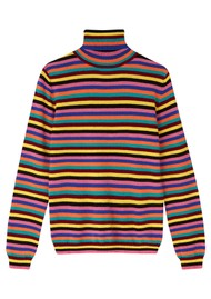 JUMPER 1234 Mini Stripe Roll Collar Cashmere Jumper - Multi