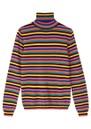 Mini Stripe Roll Collar Cashmere Jumper - Multi additional image