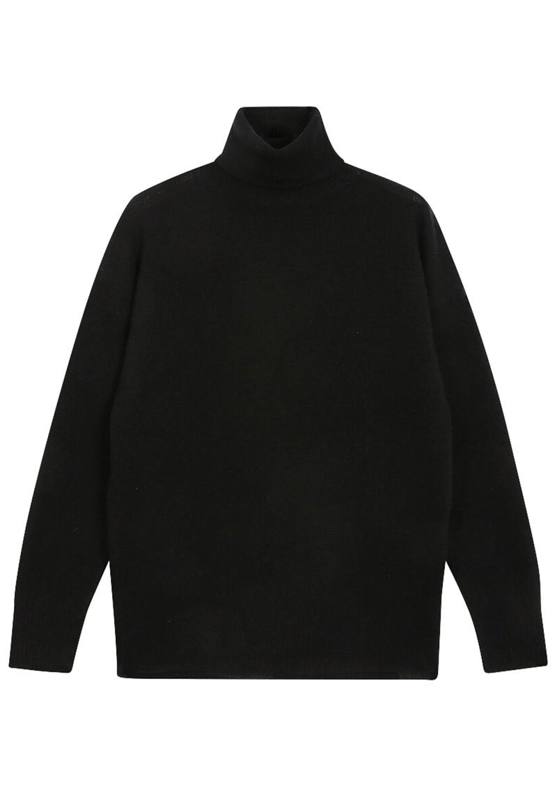 JUMPER 1234 Lightweight Roll Collar Cashmere Jumper - Black main image