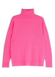 JUMPER 1234 Lightweight Roll Collar Cashmere Jumper - Neon Pink
