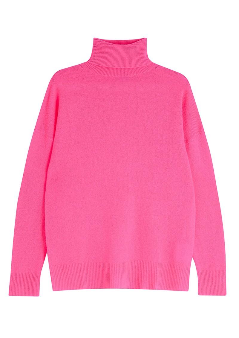 JUMPER 1234 Lightweight Roll Collar Cashmere Jumper - Neon Pink main image