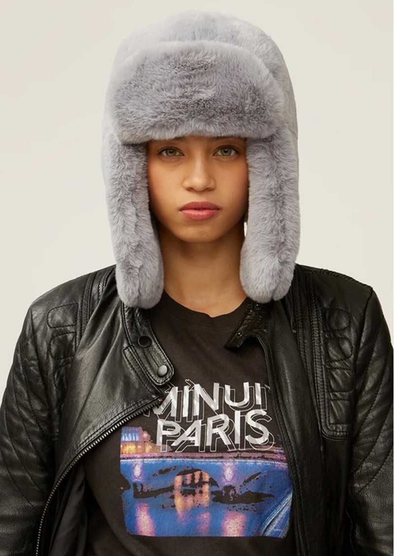 NOOKI Billie Faux Fur Trapper Hat -Grey main image