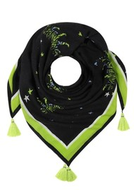 Mercy Delta Square Cashmere Mix Printed Green Scarf - Bengal Tiger