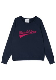 JUMPER 1234 Tour De Force Cotton Sweater - Navy & Pink