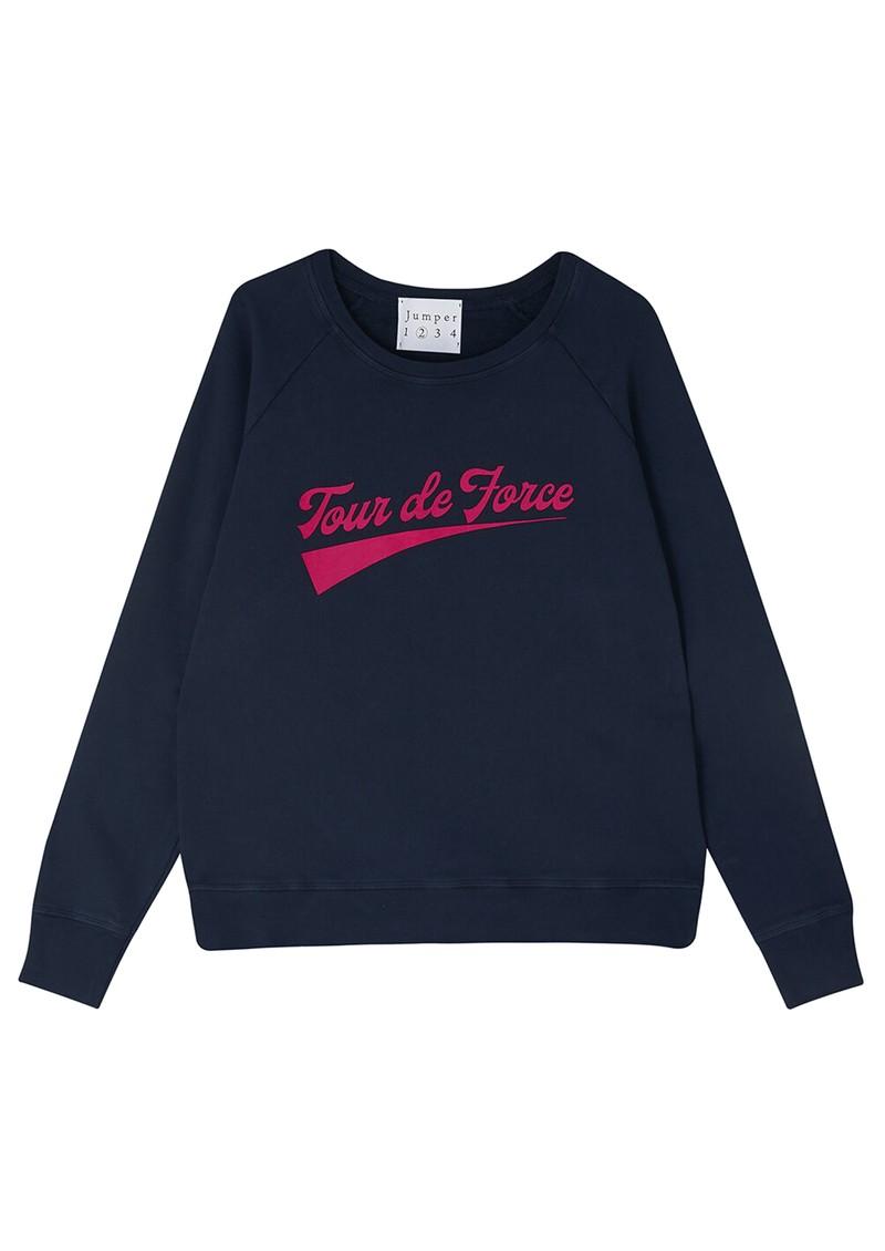 JUMPER 1234 Tour De Force Cotton Sweater - Navy & Pink main image