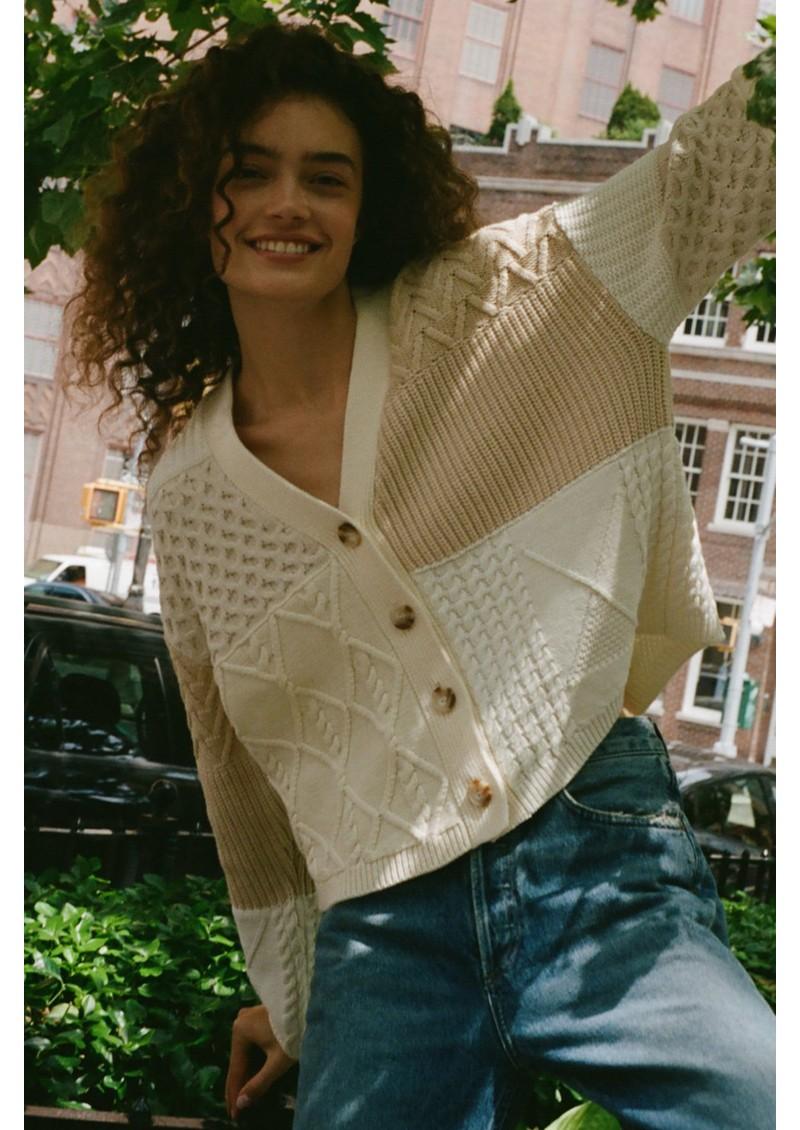 Rails Reese Cotton Mix Cardigan - Cream Patchwork main image