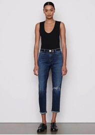 Frame Denim Le Garcon Relaxed Fit Distressed Jeans - Caribou