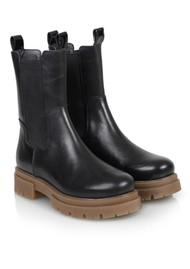 SHOE BIZ COPENHAGEN Prima Leather Boots - Black & Toffee