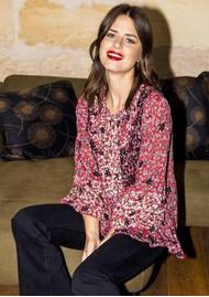 MISS JUNE Megan Printed Blouse - Western Red