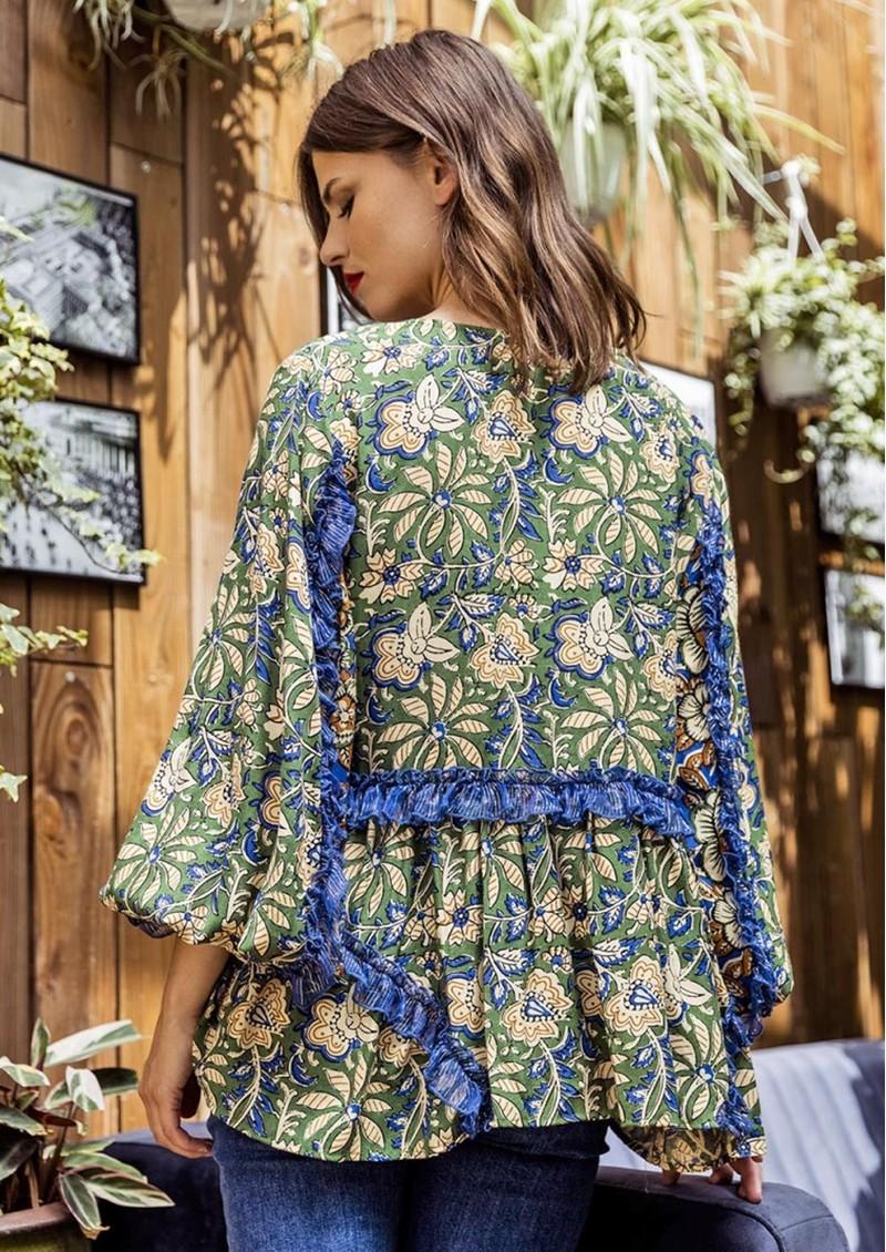 MISS JUNE Katie Printed Blouse - Fresh Bloom main image