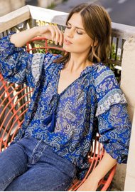 MISS JUNE Easy Printed Blouse - Texan Blue