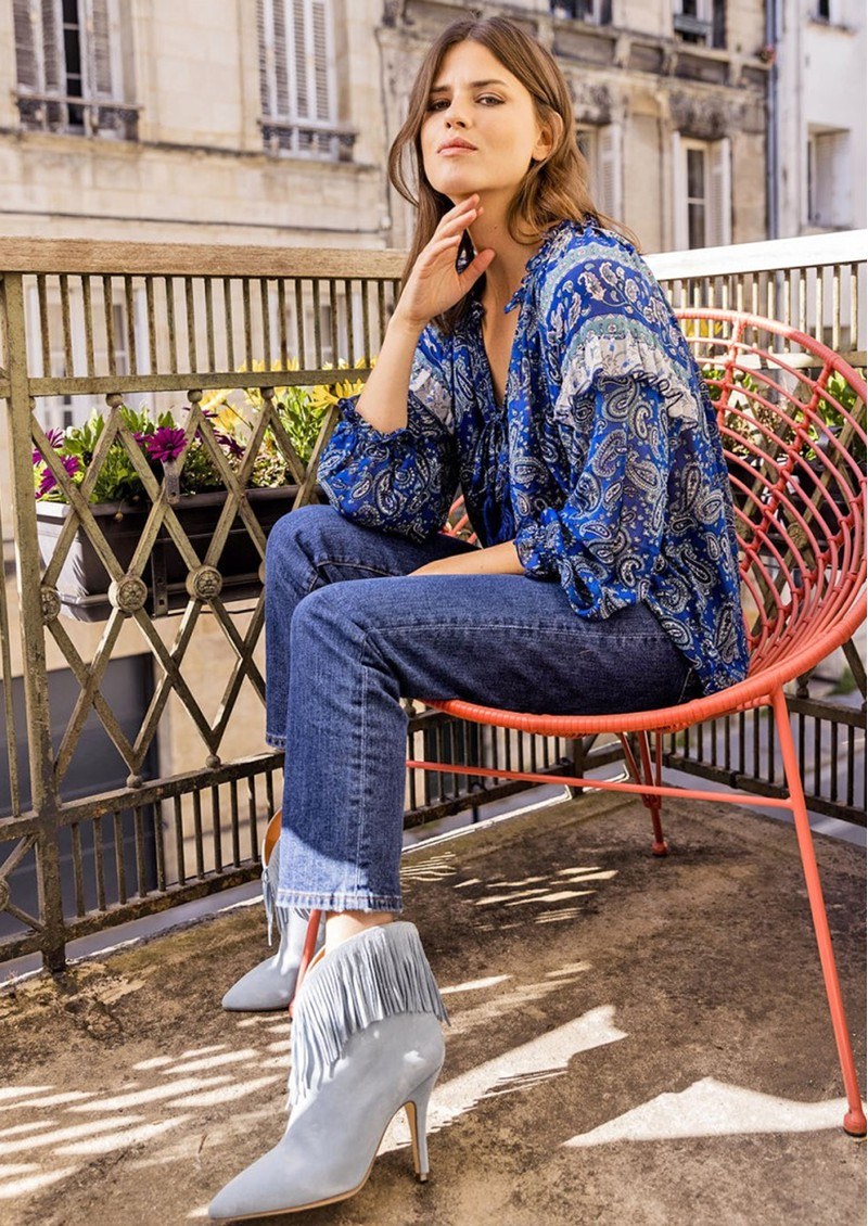 MISS JUNE Easy Printed Blouse - Texan Blue main image