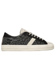 D.A.T.E Hill Low Leather Trainers - Glitter Metal