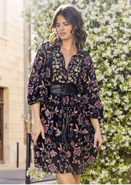MISS JUNE Loana Printed Dress - Black
