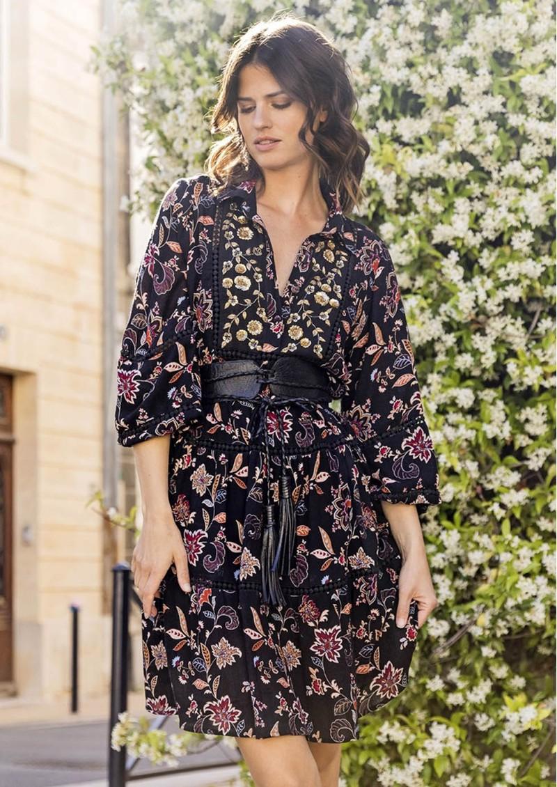 MISS JUNE Loana Printed Dress - Black main image