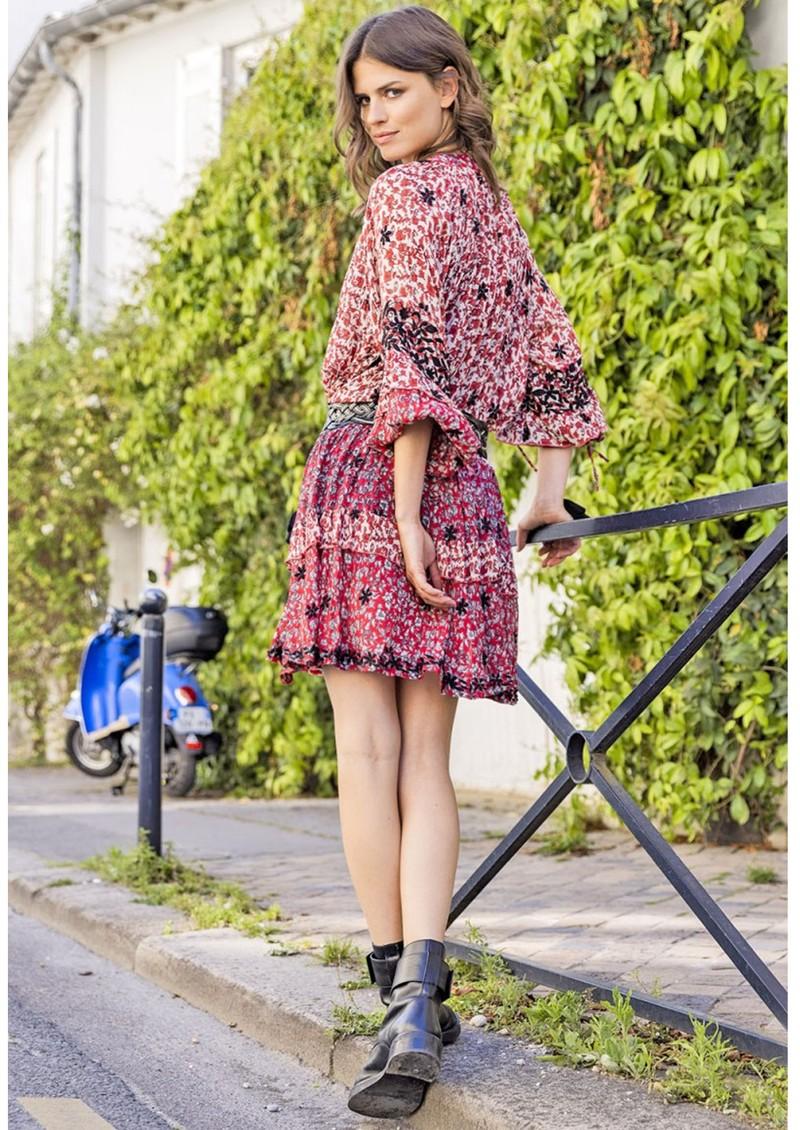 MISS JUNE Rachel Printed Dress - Western Red main image