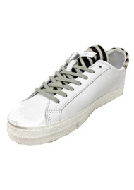 D.A.T.E Hill Low Leather Trainers - Pony White Zebra