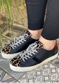 D.A.T.E Hill Low Leather Trainers - Pony Leopard & Black