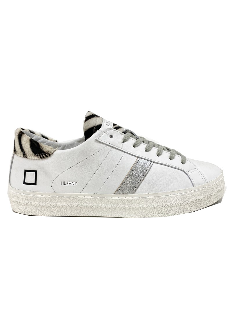 D.A.T.E Hill Low Leather Trainers - Pony White Zebra main image
