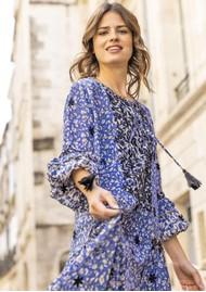 MISS JUNE Wonder Printed Maxi Dress - Texan Blue