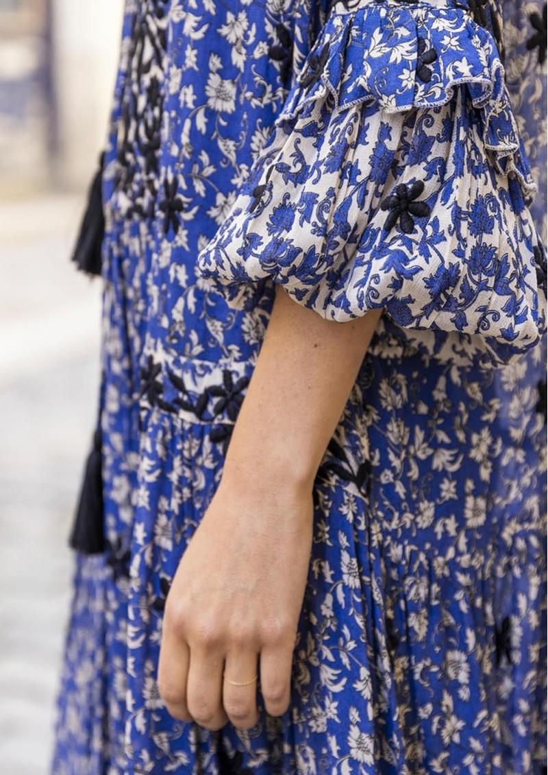 MISS JUNE Wonder Printed Maxi Dress - Texan Blue main image