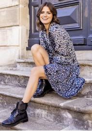 MISS JUNE May Printed Dress - Texan Blue