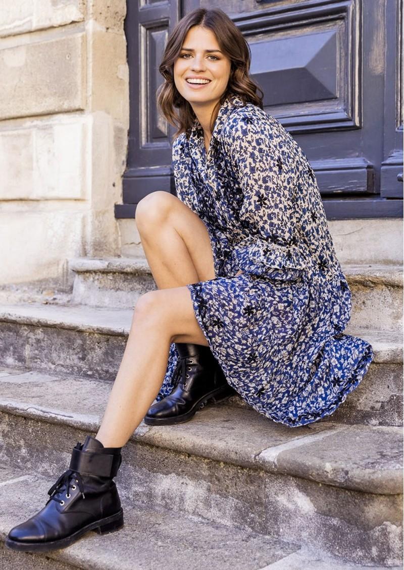 MISS JUNE May Printed Dress - Texan Blue main image