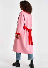 ESSENTIEL ANTWERP Affluent Reversible Wool Blend Coat - Coral Queen