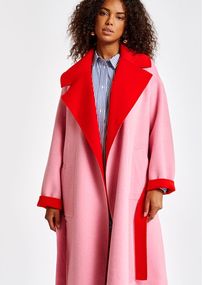 ESSENTIEL ANTWERP Affluent Reversible Wool Blend Coat - Coral Queen main image
