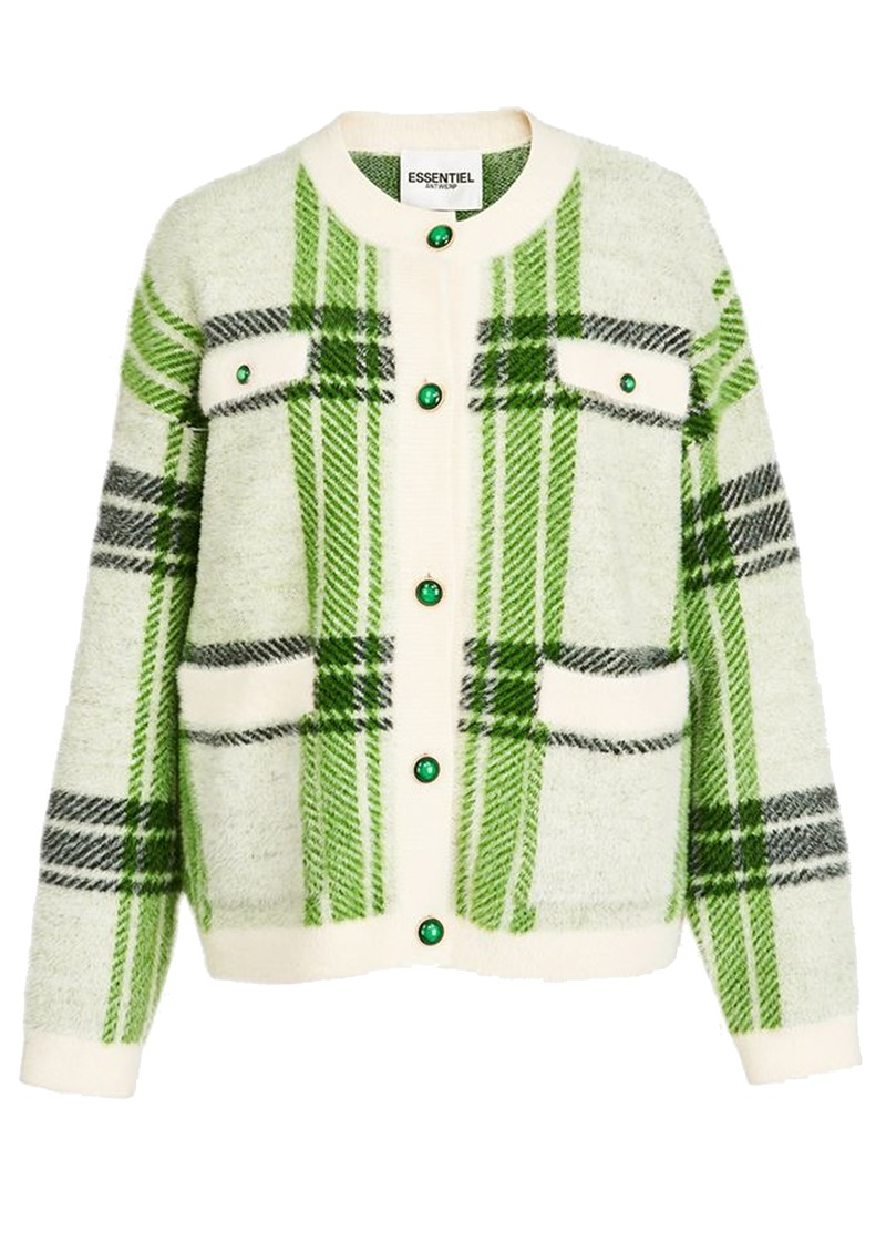 ESSENTIEL ANTWERP Anywhere Checked Cardigan - Combo 1 & Off White main image