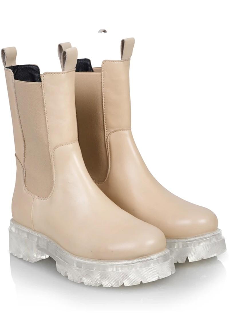 SHOE BIZ COPENHAGEN Prima Leather Boots - Beige main image