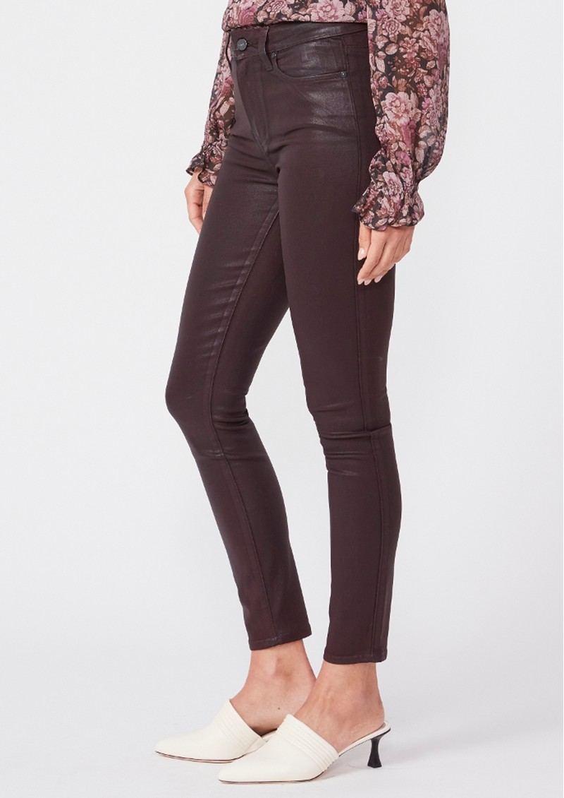 Paige Denim Hoxton High Rise Ankle Skinny Coated Jeans - Black Cherry main image