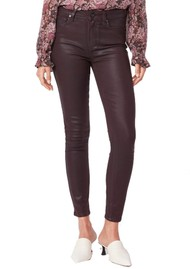 Paige Denim Hoxton High Rise Ankle Skinny Coated Jeans - Black Cherry