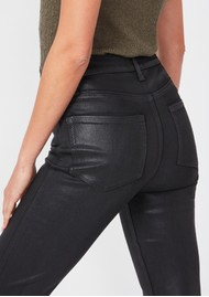Paige Denim Cindy Ultra High Rise Straight Ankle Coated Jean - Black Fog Luxe