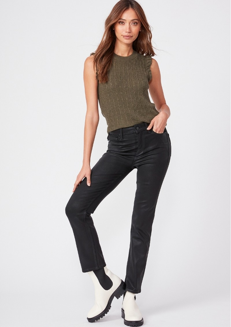 Paige Denim Cindy Ultra High Rise Straight Ankle Coated Jean - Black Fog Luxe main image