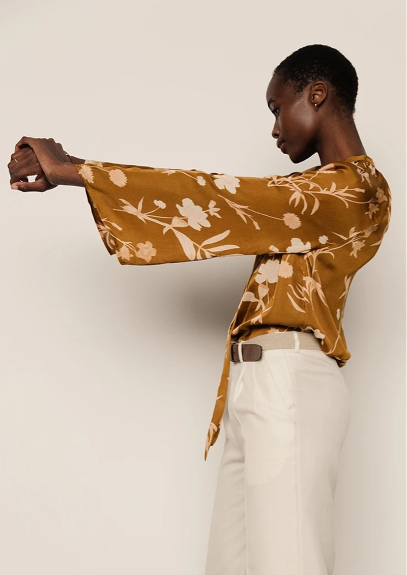 Lily and Lionel Etta Organic Lotus Silk Top - Botanical Gold main image