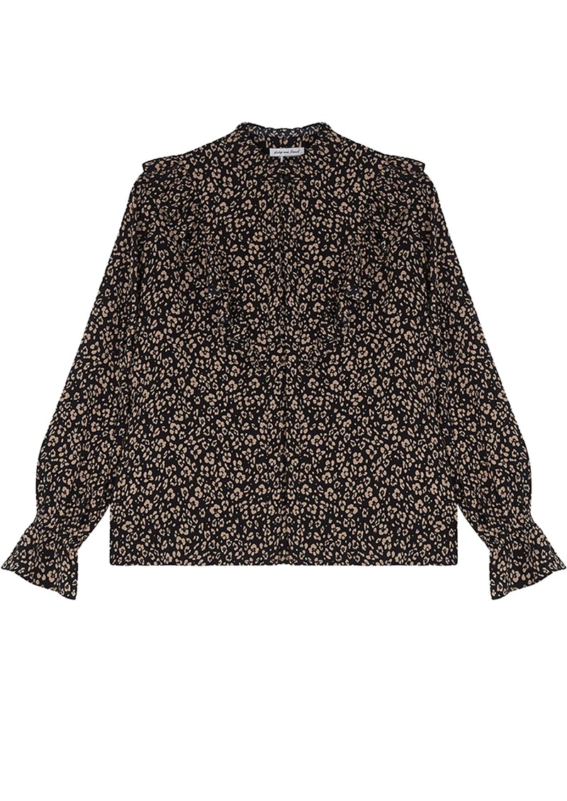 Lily and Lionel Layla Printed Blouse - Floral Leopard Black main image