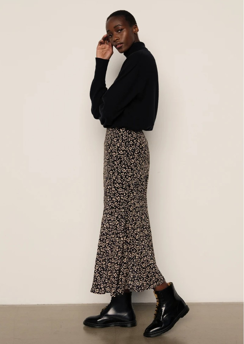 Lily and Lionel Lottie Printed Skirt - Floral Leopard Black main image
