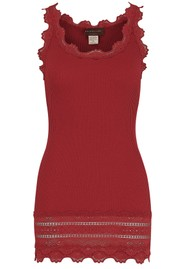 Rosemunde Wide Lace Silk Blend Vest - Berry Red
